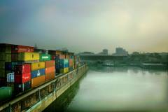bruecke container hafen serien wallpaper
